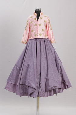Emb Pink Top & Grey Skirt themumsshop