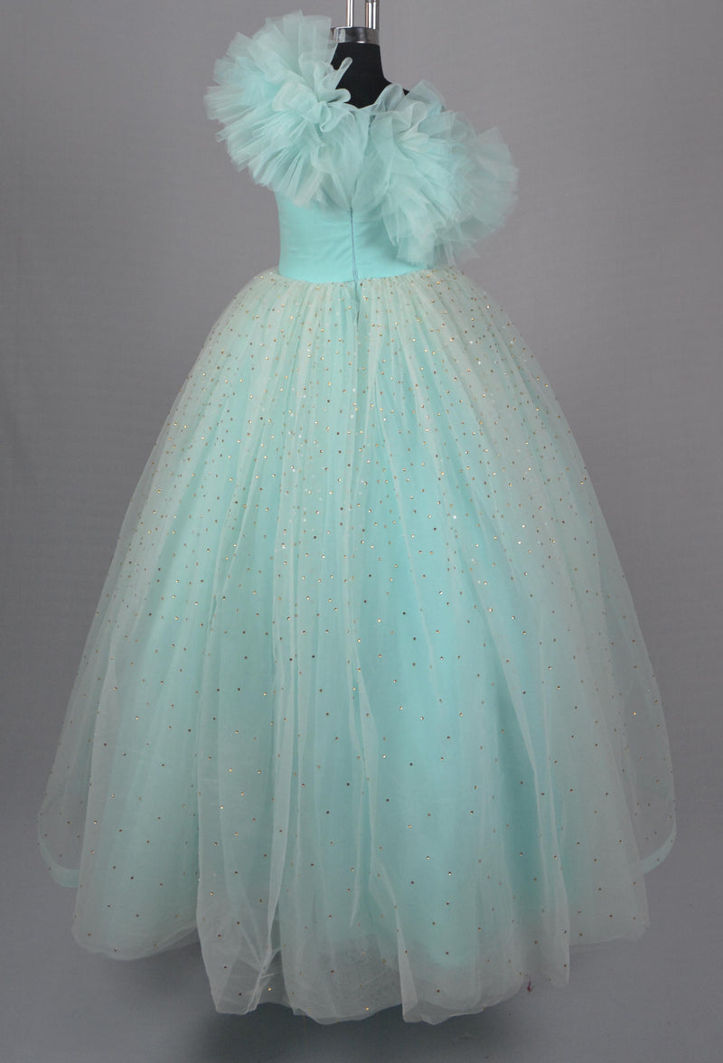 Sky Blue Golden Stone Gown themumsshop