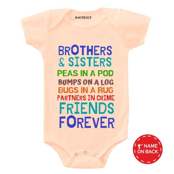 Brothers & Sisters Friends Forever - Personalised Baby Onesie