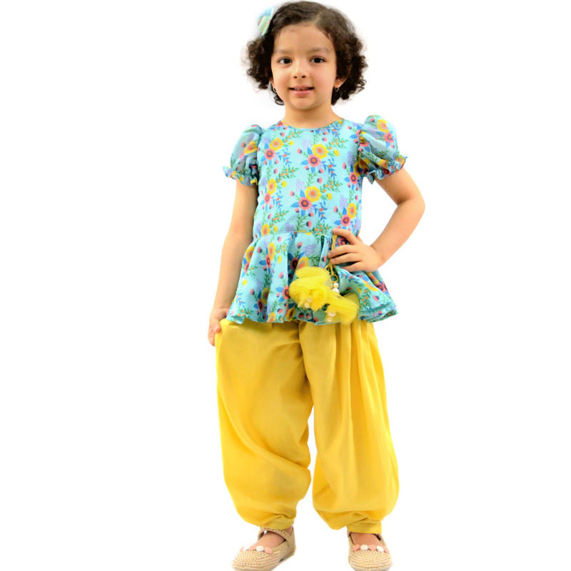 Yellow Dhoti & Peplum Top themumsshop
