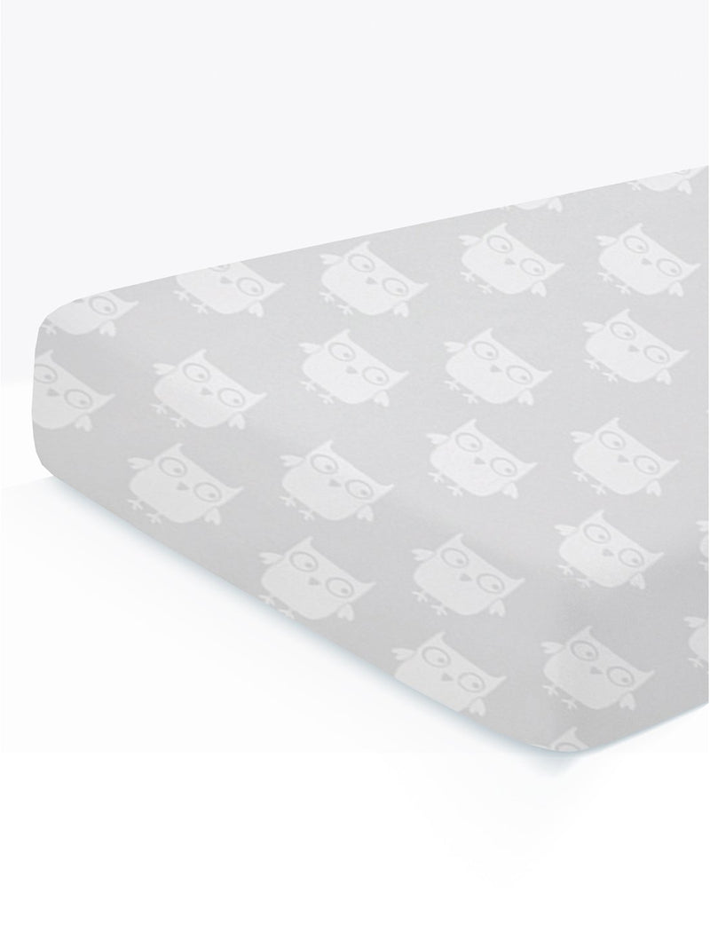 Organic Cotton Fitted Cradle Sheet for Crib Mattress (Owl) | Cot Sheet