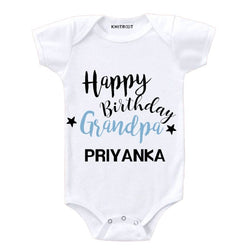 Happy birthday gandpa kids romper | Personalised Baby Onesie