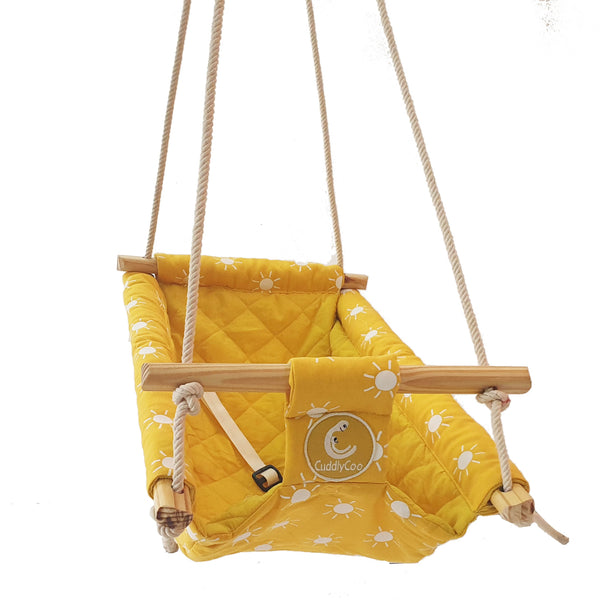 CuddlyCoo Baby Swing/Rocker (Mustard) - Cradle & Swing