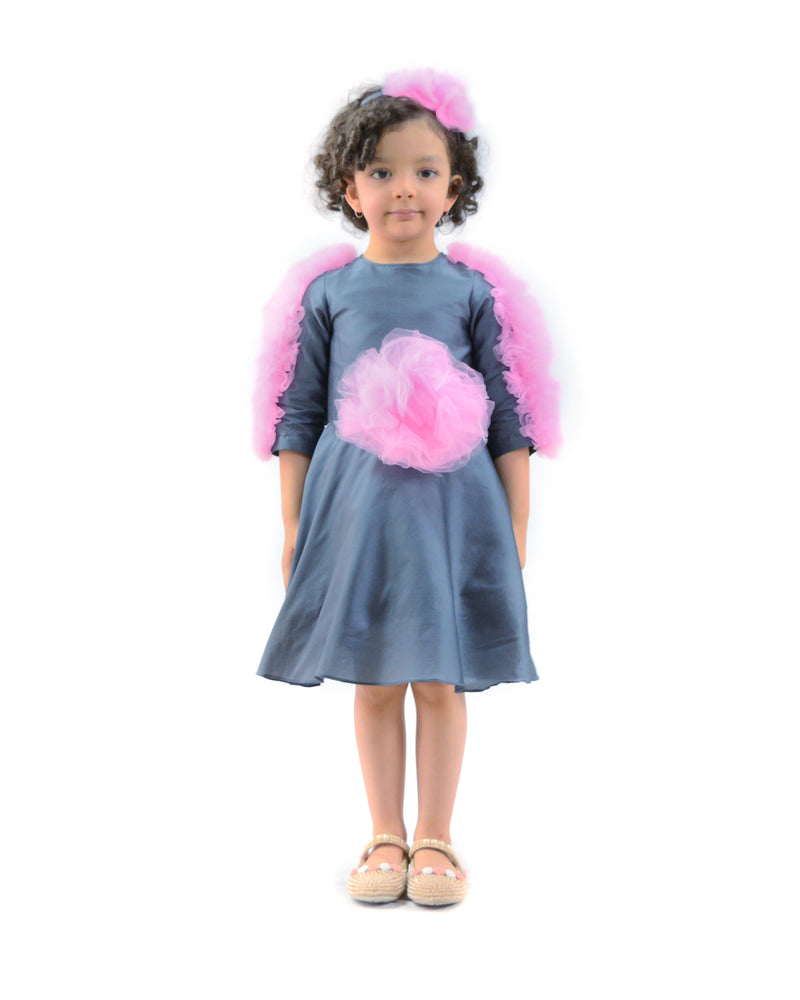 Grey Dress with Net pink Frills-Clothes-THE MUM SHOP