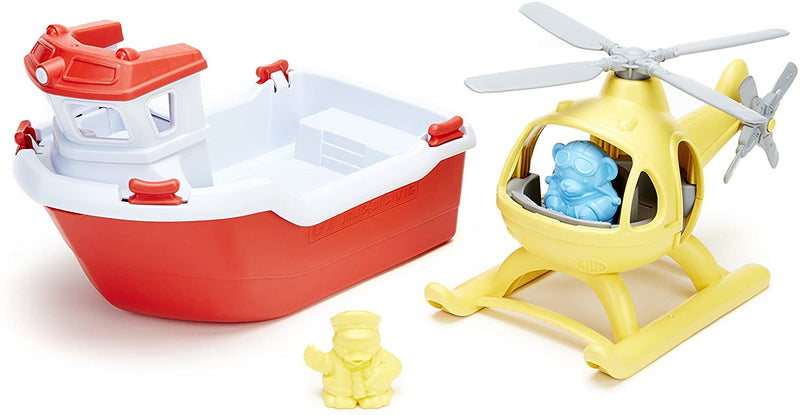 Green Toys Rescue Boat With Helicopter  | Kids Toys | Age 2+