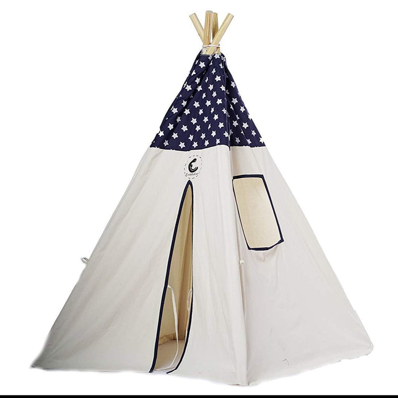 Cotton Canvas Teepee Tent (Blue Star) themumsshop