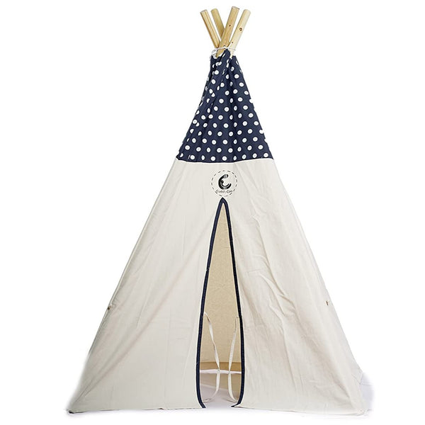 CuddlyCoo Cotton Canvas Tent With Wooden Dowels Grey Polka | Kids Teepee