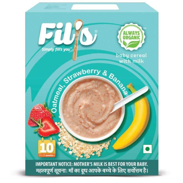 Fils Organic Baby Cereal With Oatmeal Strawberry & Banana - 300 gm | Baby Food