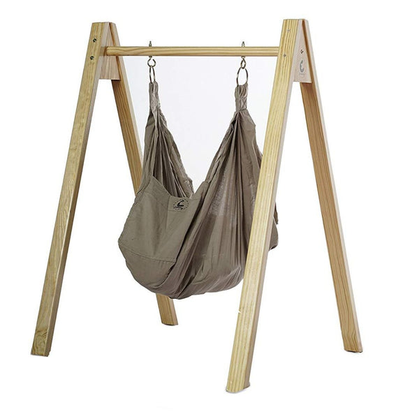 Baby Hammock - Wooden Stand - Organic Cotton Grey themumsshop