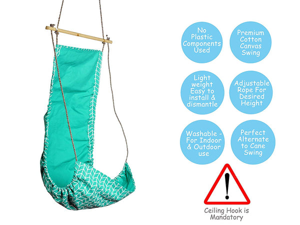Children's Hammock Swing - Cyan ZigZag themumsshop