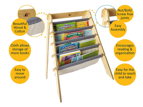 CuddlyCoo Wooden Book Rack/Shelf for Kids' | Book Shelf | Furnishings