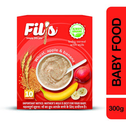 Fils Organic Baby Cereal With Wheat Apple Banana - 300 gm | Baby Food