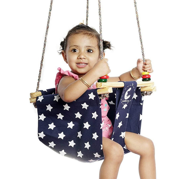 CuddlyCoo Baby & Toddler Swing Star Print – Blue