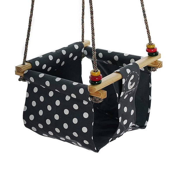 CuddlyCoo Baby & Toddler Swing - Grey Polka