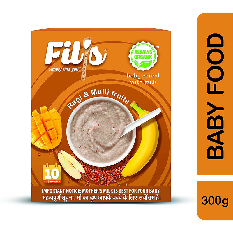 Fils Organic Baby Cereal With Ragi & Multifruit - 300 gm | Baby Food