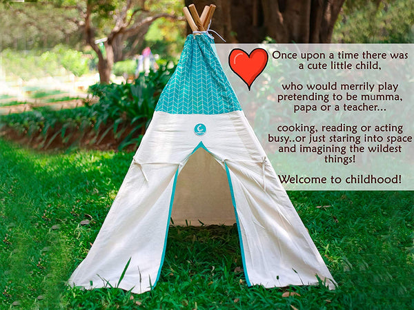 Cotton Canvas Teepee Tent Cyan ZigZag themumsshop