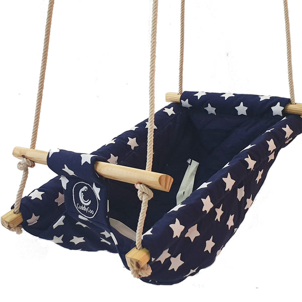 CuddlyCoo Baby Swing and Rocker - Blue Star