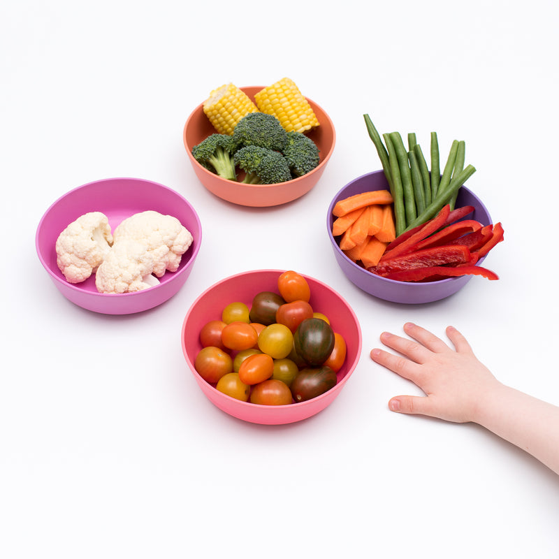 Set of 4 Bamboo Toddlers & Kids Bowls for Cereal & Soup Non-Toxic, BPA-Free - Sunset themumsshop