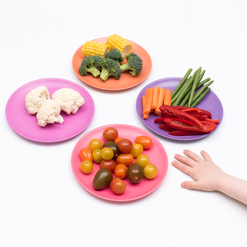 Non-Toxic Set of 4 Bamboo Dinner plates for Babies, Toddler, Kids - Sunset themumsshop
