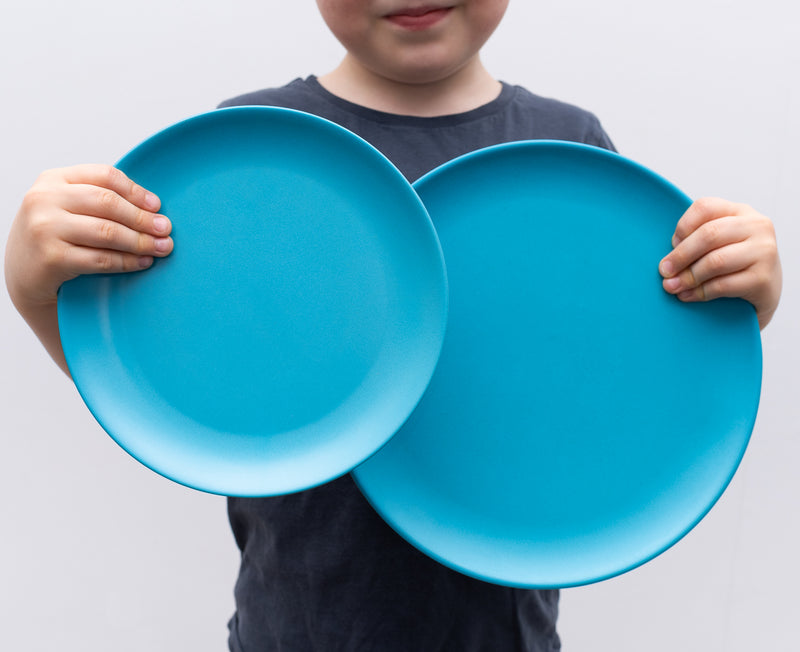 Non-Toxic, BPA-Free, Eco-friendly, 4 Bamboo Adult-sized Plates for Kids - Coastal themumsshop