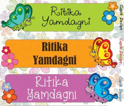 Personalised Name Stickers (Pack of 45)- Butterflies