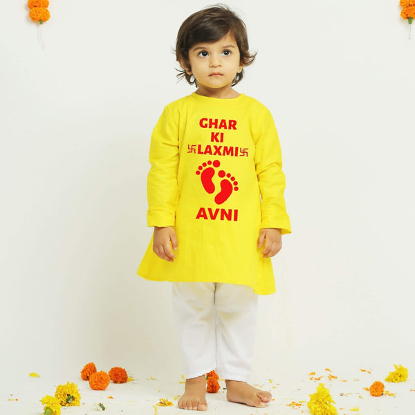 Yellow Diwali Personalised Kurta Pajama | Girls Indian Wear
