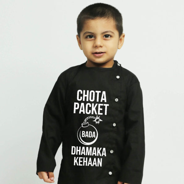 Black personalised Kurta Pajama - Boys Indian Wear