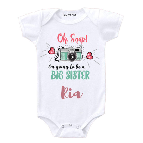 Oh snap, I am going to be a big sister | Personalised Baby Onesie