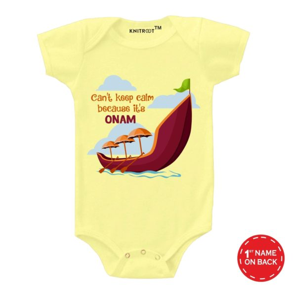 Can't Keep Calm Because It's Onam Baby Wear | Personalised Baby Onesie
