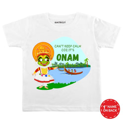 Can't Keep Calm Coz It's Onam Baby Wear | Personalised Tshirt