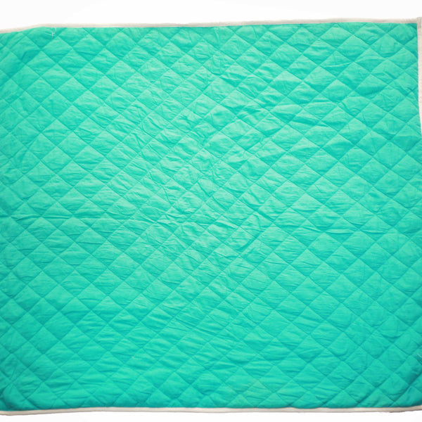 CuddlyCoo Quilted Cotton Play Mat - Cyan | Play Mat