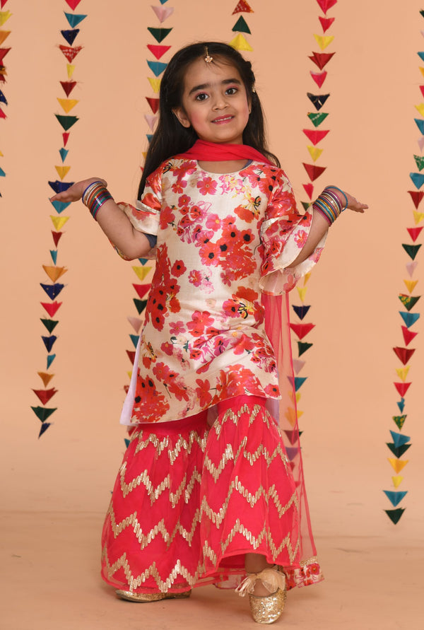 Ivroy Flowery sharara Set in fusia colour | Girls Indian Wear