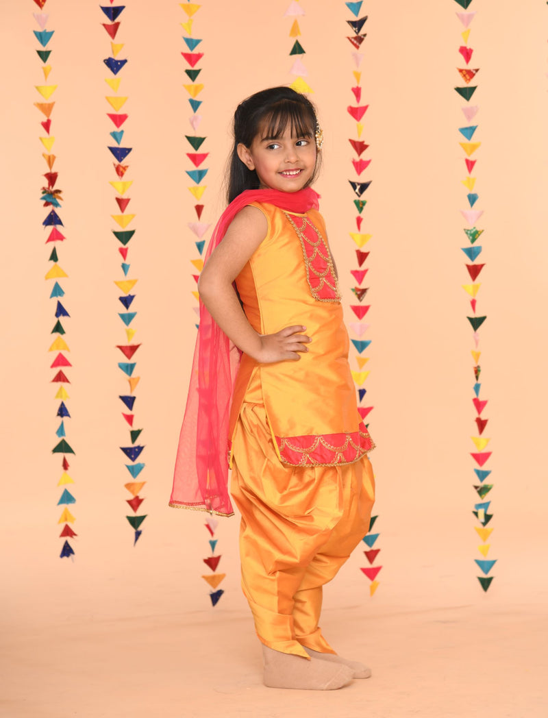 Mustard Girls Dhoti Set with embroidered yolk | Girls Indian Wear