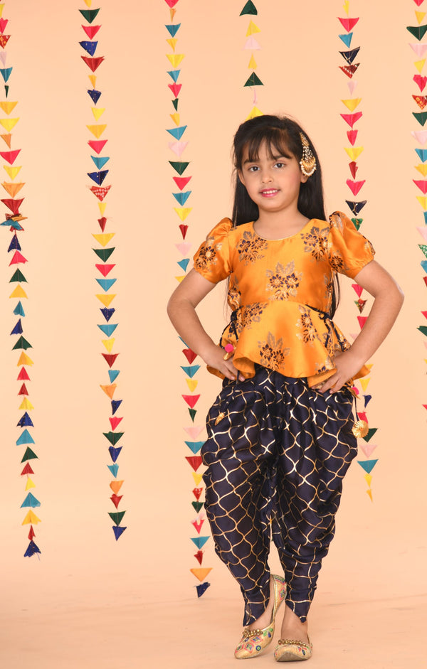 Navy mustard pepum Girls Dhoti Set | Girls Indian Wear