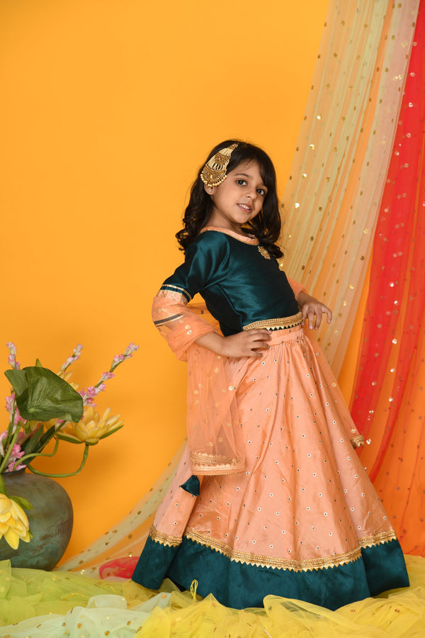 Regal bottle green and peach Lehenga Set | Girls Indian Wear