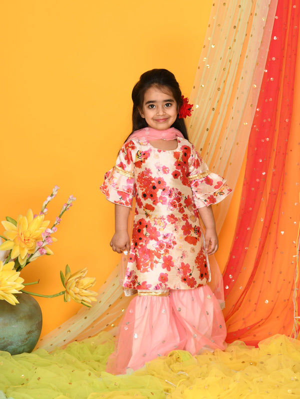 Shades of Pastels - Flowery kurta with pink Sharara Set- Girls Indian Wear