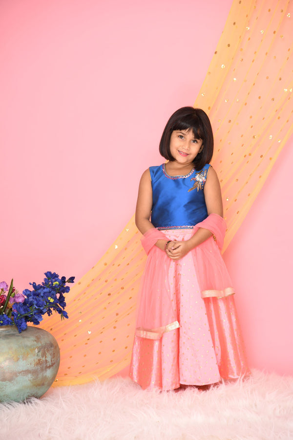 Blue and neon pink Lehenga Set - Girls Indian Wear