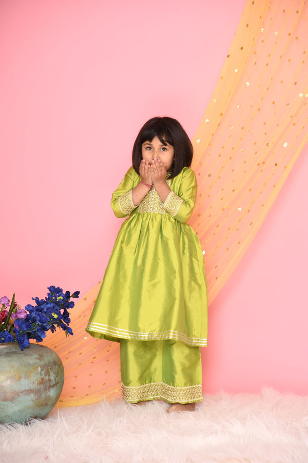 Mehnga green plazo kurta set with lace work - Girls Indian Wear