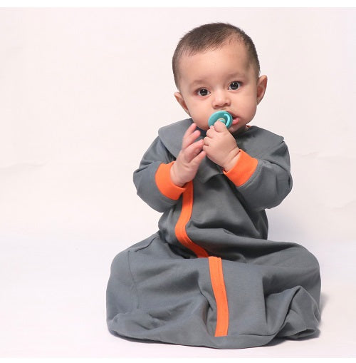 Snuggle Me Baby Sleepsack - Dark Grey and Tangerine | Baby Sleeping Bag