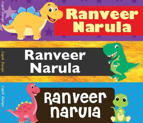 Personalised Name Stickers (Pack of 45)- Dinosaur