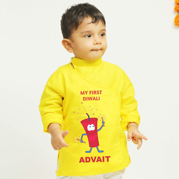 Personalised Yellow Dhoti Kurta | Boys Indian Wear