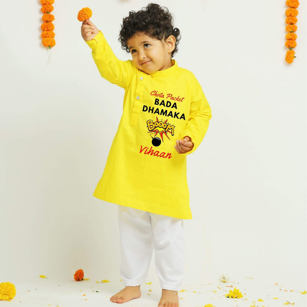 Personalised Yellow Kurta for Diwali | Boys Indian Wear