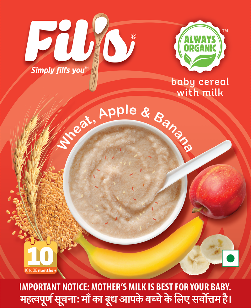 Fil's Organic Baby Cereal With Wheat Apple Banana - 300 gm themumsshop