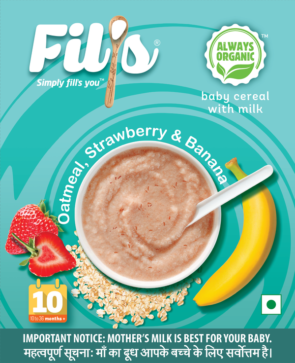 Fil's Organic Baby Cereal With Oatmeal Strawberry & Banana - 300 gm themumsshop