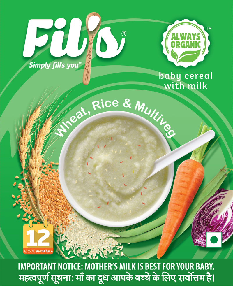 Fil's Organic Baby Cereal With wheat rice and multiveg - 300 gm themumsshop