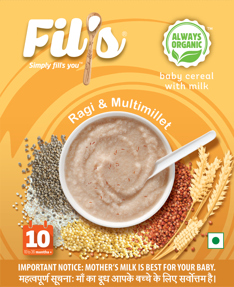 Fil's Organic Baby Cereal With ragi  & Multimillet - 300gm themumsshop