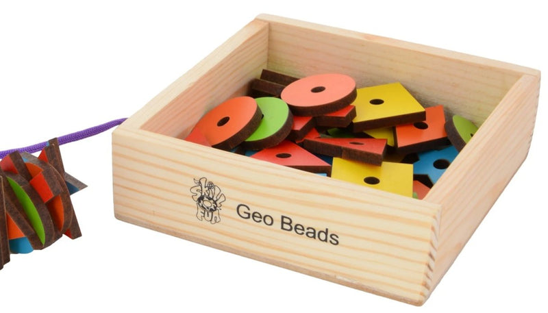 Geo Beads (Wooden) (50 beads) (In Wooden Box)-Toys-THE MUM SHOP