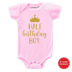 Half Birthday Boy Baby Outfit | Personalised Baby Onesie