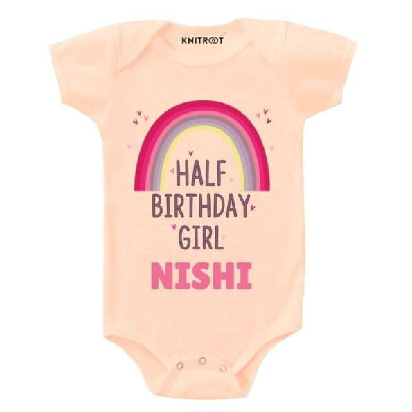 Half Birthday Girl Baby Clothes | Personalised Baby Onesie