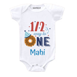 Half Way To One Theme Baby Clothes | Personalised Baby Onesie